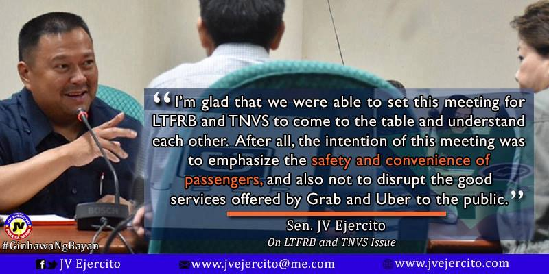 Senator JV On LTFRB and TNVS Issue