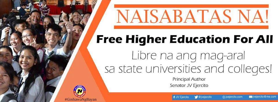 Tuition-Free Higher Education for All Act! NAISABATA NA!