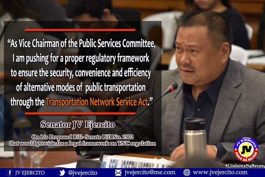 Sen. JV On his Proposed Bill- Senate Bill No. 1502 That Will Provide For a Legal Framework of TNC Regulation.