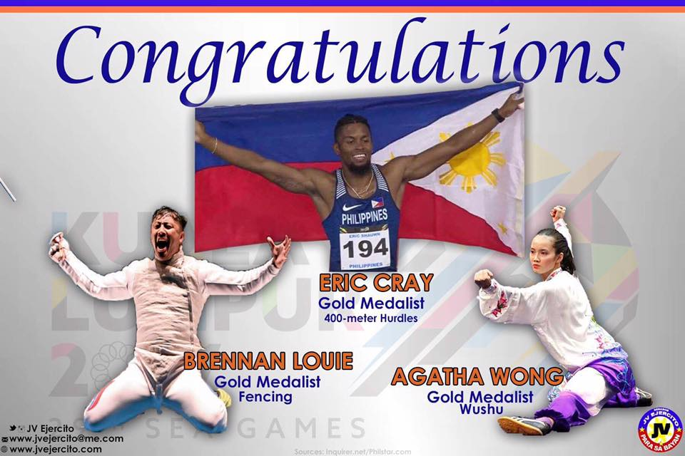Congratulations to our gold medalists Brenan Louie, Agatha Wong and Eric Cray in fencing