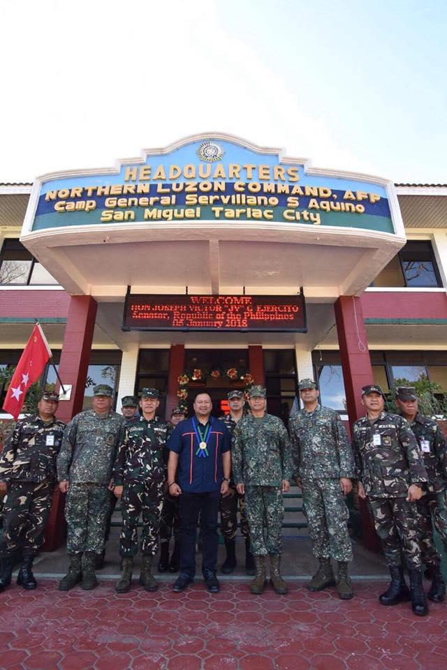 Sen. JV with Lieutenant General Emmanuel Salamat at the Armed Forces of the Philippines Northern Luzon Command.