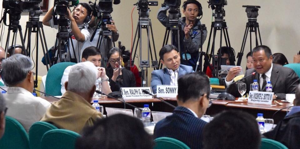 Sen. JV at the public hearing of the Senate Constitutional Amendments Committee