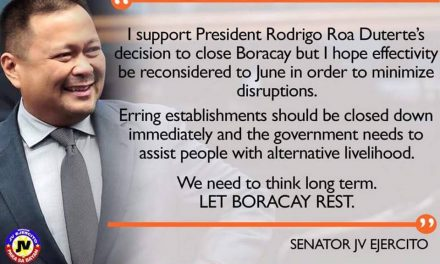 Sen. JV Ejercito On the Boracay Closure