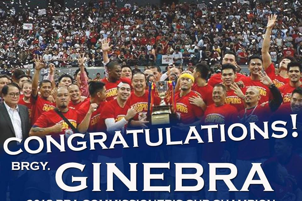 Congratulations Brgy. Ginebra for winning the 2018 PBA Commissioner's Cup!