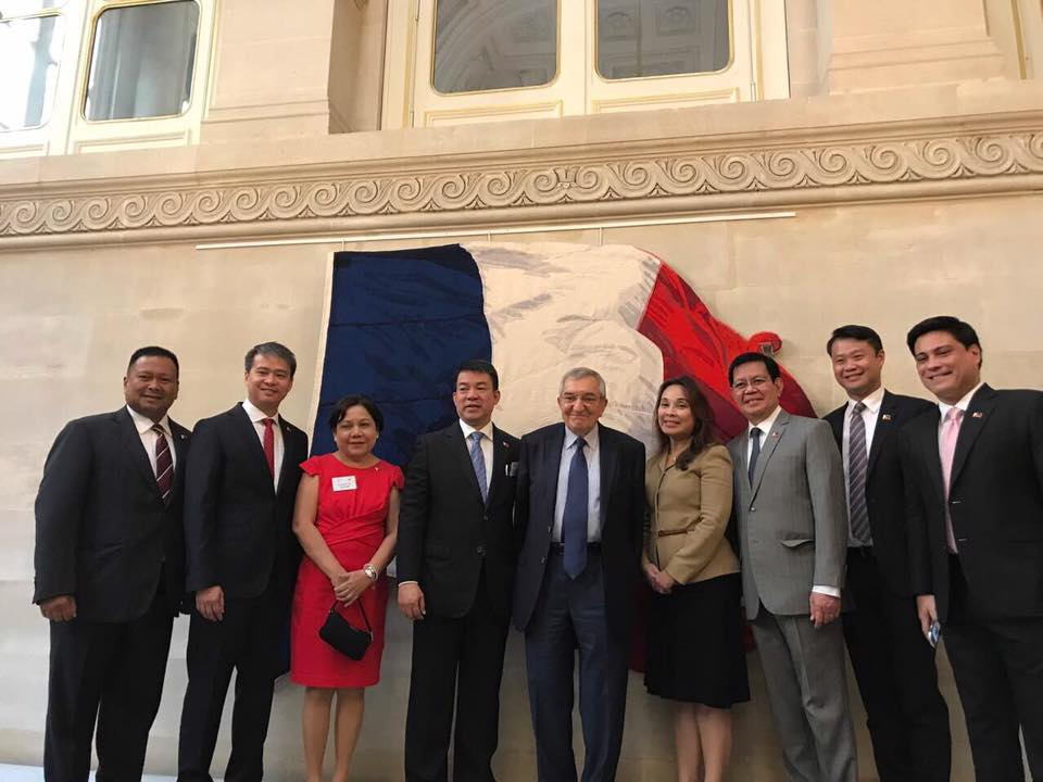 Sen. JV With His Co-Senators During The First Official Schedule For The Philippine Contingent at the French Constitutional Council