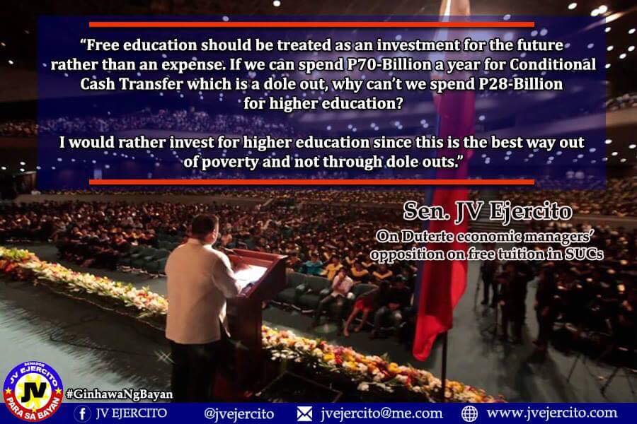 Sen. JV On Duterte Economic Managers Opposition on Free Tuition in SUCs.