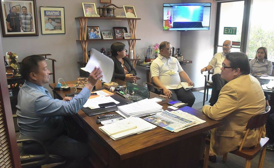 Sen. JV with PhilHealth Officials in Preparation for Tomorrow's First Hearing of the Universal Health Bill.