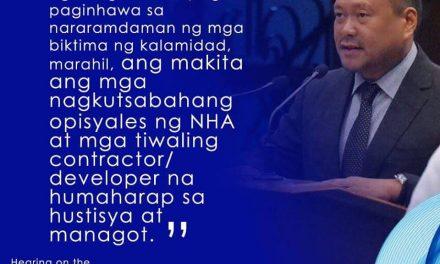 Sen.JV On the Alleged Irregularities on Resettlement Programs for Disaster Areas
